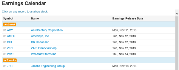 Stock2Own Investor Home - Earnings Calendar