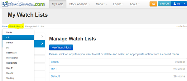 Stock2Own Investor - Manage Watch Lists